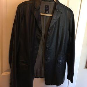 🛑 Black leather jacket GAP large